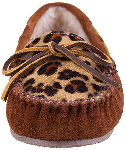Minnetonka Donna Leopard Cally Slipper Mocassino Leopardato Marrone