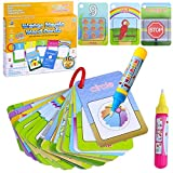 LEEFE Chidren's Early Education Cognitive Cards,Reusable Water Reveal Word Card, Water Drawing Doodle Card Book, Water Painting Book Card, Word Flash Card, Water Painting Graffiti Book Card Magic Drawing Pens for Toddler