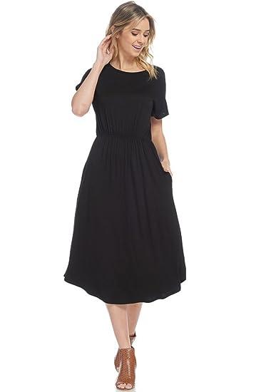 12 Ami Short Sleeve Cinched Waist Pocket Midi Dress Made In Usa At