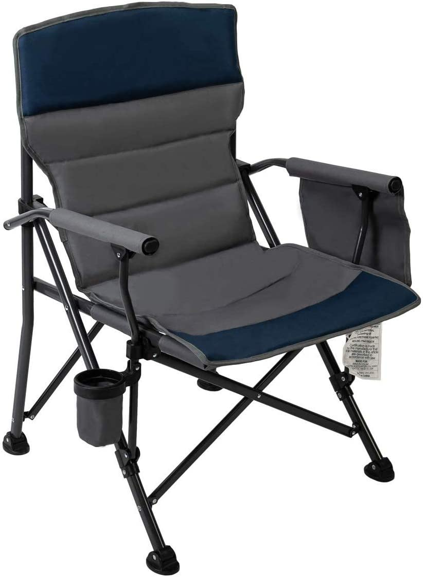 Pacific Pass Camping Chair Heavy Duty Padded Chair, 400lbs Capacity, Folding Sports High Back Chair with Storage Bag Cup Holder for Camping, Fishing, Hiking, Outdoor, Carry Bag Included, Navy