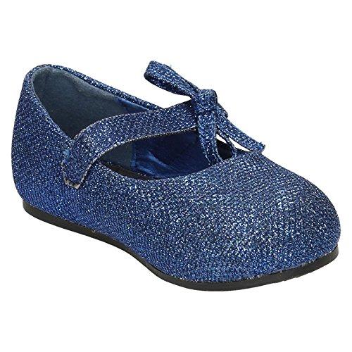 Mädchen Ort auf Flacher Velcro Schuh mit Glitzer Schleife Dekoration Dunkelblau