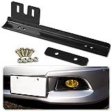 Zone Tech Bumper License Plate Relocator - Premium Quality Classic Black Universal Fit Front Bumper License Plate Relocator Bracket Holder Bar