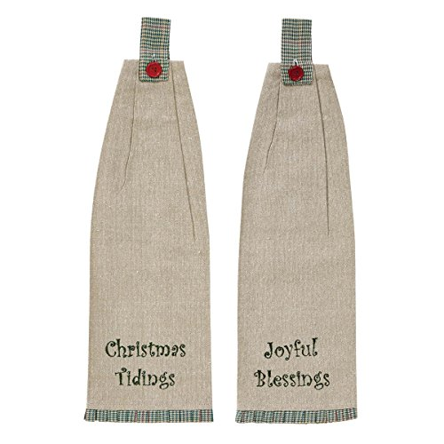 VHC Brands Christmas Holiday Tabletop & Kitchen - Tidings Tan Button Loop Kitchen Towel Set