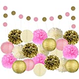 Adorable Mixed Pink, Gold & Ivory Party Decorations By Epique Occasions – Set Of Hanging Tissue Paper Flower Pom Poms, Lanterns & Honeycomb Balls For Birthday, Wedding & Party Décor-22 Pcs & String