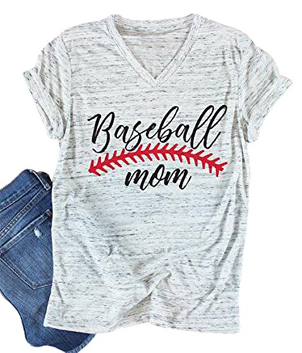 UNIQUEONE Baseball Mom T-Shirt Women Letter Print Funny Tops Short Sleeve Casual Tee Size L (White) (Mom T-shirt Tee)