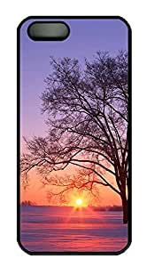 iPhone 5 5S Case landscapes nature sunset tree 11 PC Custom iPhone 5 5S Case Cover Black