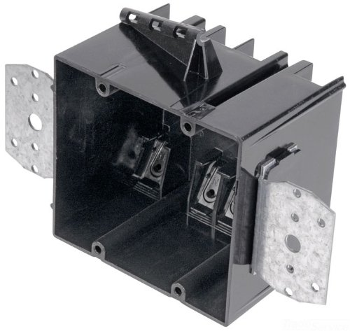 Carlon 234-LB Outlet Box, New Work, 2 Gang, 3-3/4-Inch Length by 4-Inch Width by 3-3/32-Inch Depth, Black