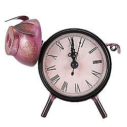 AUNMAS Desk Clock Handmade Retro Metal Pig Statue Decorative Desktop Frame Clock for Home Office Decor