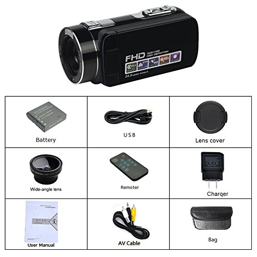 "Camcorder Video Camera Full HD 1080P 24.0MP Digital Camera 18x Digital Zoom 2.7"" LCD with Wide Angle Close-up Lens Camcorder Video Camera Full HD 1080P 24.0MP Digital Camera 18x Digital Zoom 2.7″ LCD with Wide Angle Close-up Lens 519iwQuVEqL"