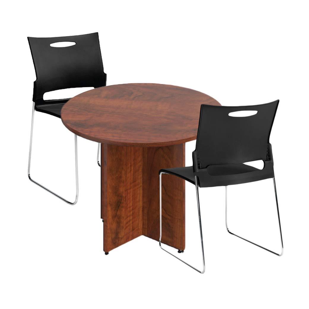 GOF 36'' Round Table (36W x 36D x 29.5H), Cherry, Espresso, Mahogany, Walnut (Dark Cherry 3-Piece Table Set) by GOF (Image #1)