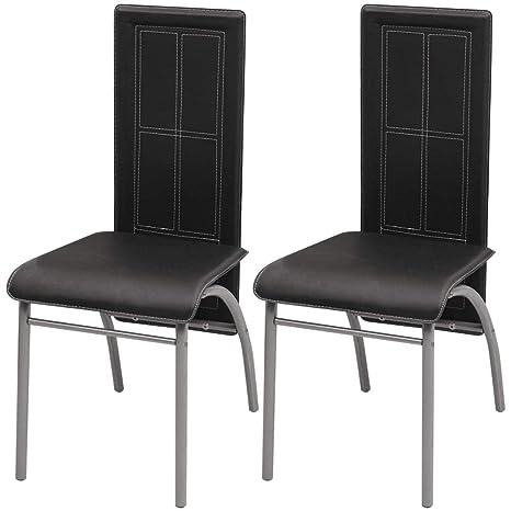 Xinglieu 2 Unidades sillas para Comedor Negras sillas de Comedor ...