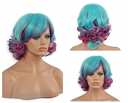 Diy-Wig Mixed Blue Purple Bottom Culry Women's Ombre Blue Purple Short Curly Wig Oblique Bangs Cosplay Costume (Curly Blue Wig)