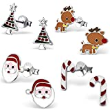 925 Sterling Silver Hypoallergenic Set of 4 Pairs Christmas Set Stud Earrings