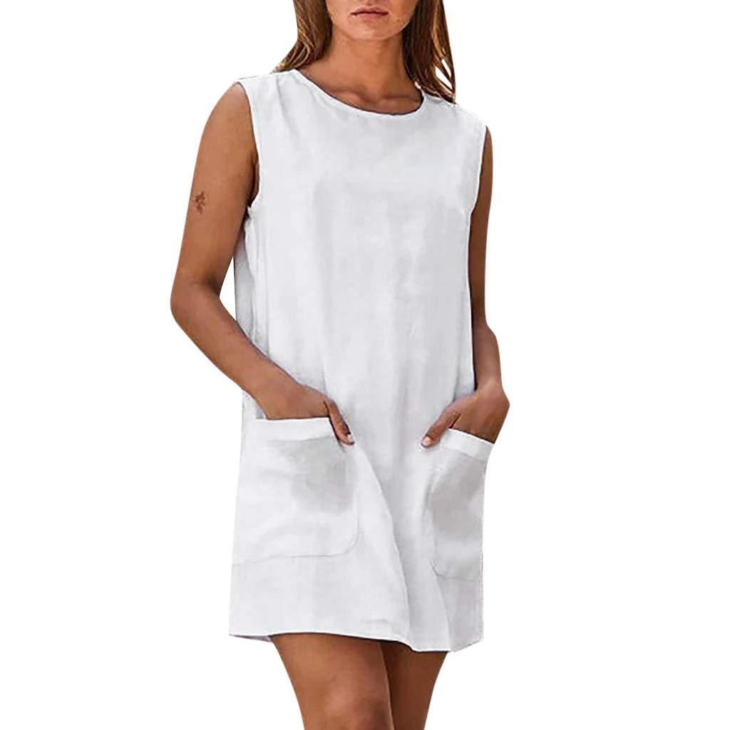 Alangbudu Women's Cotton and Linen Summer Sleeveless Casual Pocket Mini Shift Dress White