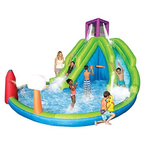 Magic Time Adventure Falls Inflatable Water Park with 2 Slides & Basketball Hoop - Falls Water Slide