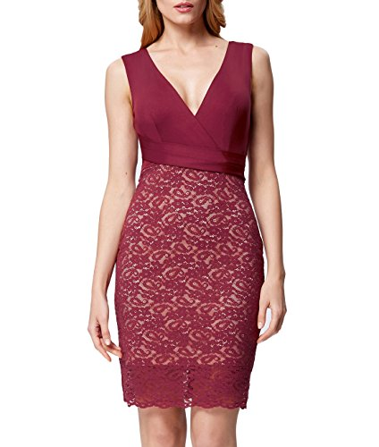 GRACE KARIN Womens Floral Lace Bodycon V-Neck Pencil Dress for Christmas GK1082-2 USA2 Wine Red