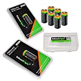 8 Batteries Pack of EdisonBright type 16340 EBR70 rechargeable CR123A RCR123A 3.7v protected li-ion batteries with EdisonBright battery carry case