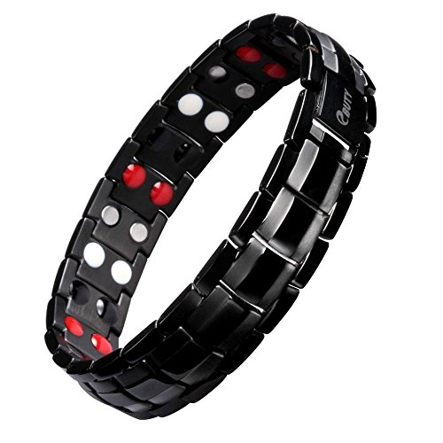 Mens Titanium Magnetic Therapy Bracelet Double Row 4 Element Pain Relief for Arthritis and...