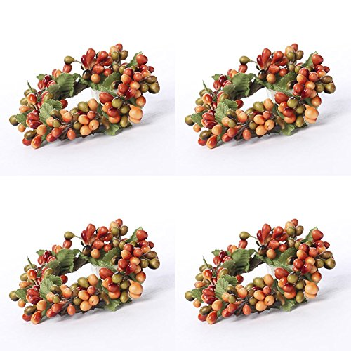 Factory Direct Craft Group of 4 Plump Autumn Pip Berry Miniature Candle or Napkin Rings by Factory Direct Craft