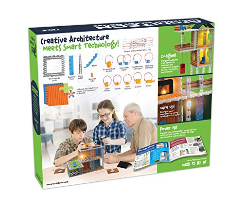 SmartLab Toys Archi-Tech Electronic Smart House - 62 Pieces - 20 Projects - Includes Light and Sound, Multicolor, 16 x 10 x 9""