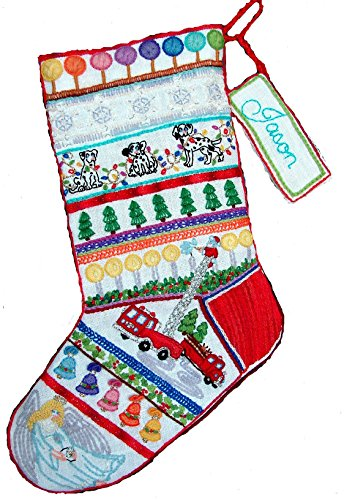 Crewel Embroidery Christmas Stockings - 'Fire Truck' Crewel Christmas Stocking