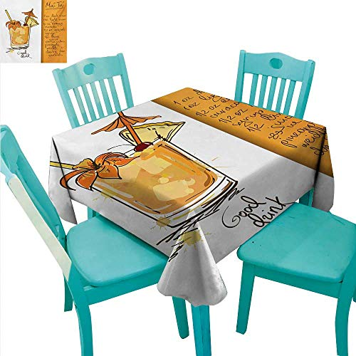Tiki Bar Elegant Waterproof Spillproof Polyester Fabric Table Cover Hand Drawn Style Mai Tai Cocktail in a Glass and The Recipe Hawaiian Drink Runners,Gatsby Wedding,Glam Wedding Decor,Vintage -