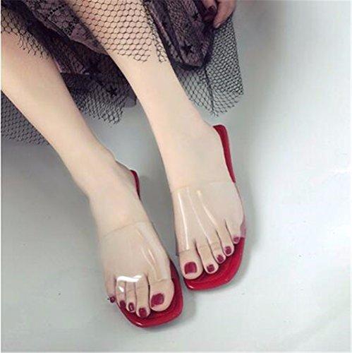 al Antideslizante damas libre de fondo aire verano Ladies' zapatillas gules plano exterior De antideslizante GAOQIANGFENG sandalias tqwUSpx