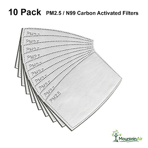 Quality Air Pollution Face Mask Filters - Compatible with N99 and N95 masks - Protect against Dust, Smoke, Gas and Allergies - High Performance 10 Pack