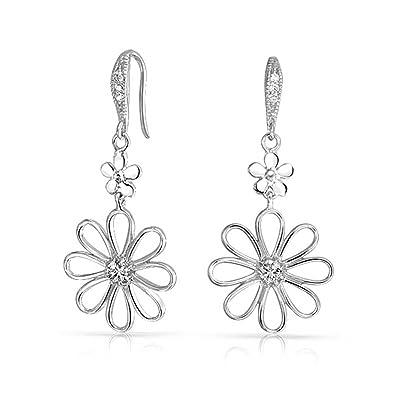 DTPSilver - 925 Sterling Silver Daisy Flower Dangle Earrings BICtFJPe