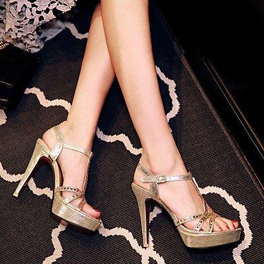 LvYuan Mujer-Tacón Stiletto-Zapatos del club-Sandalias-Boda Vestido Fiesta y Noche-Sintético PU-Negro Plata Oro Gold
