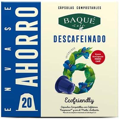 Cafés Baqué - 20 Capsulas Compatibles Nespresso Descafeinado ...