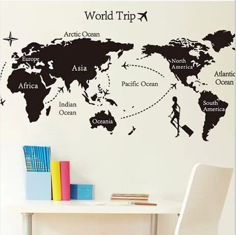 FunnyCraft The World Map Office Decoration Removable Wall Stickers Parlor Kids Bedroom Home Decor Mural Decal Perfect Wall Stickers