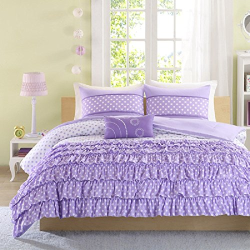 4 Piece Girls Bedroom Polka Dots Themed Comforter Set Ful...