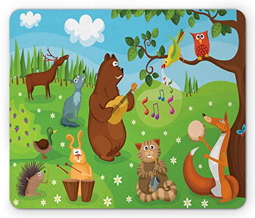 Ambesonne Hedgehog Mouse Pad, Open Air Concert in Forest Instrument Playing Bear Rabbit Fox and Tweeting Bird, Standard Size Rectangle Non-Slip Rubber Mousepad, Multicolor (Air Open Concert)