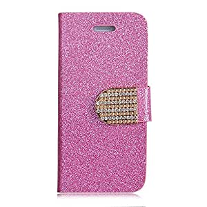 Focuson(TM) Bling Wallet Luxury Leather Magnetic Flip Cover Case for Apple Iphone 5C (Pink)