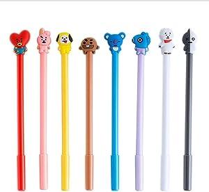 BTS Cartoon Animal Pens Black Ink Writing Pen Set Plastic Creative Gel Pens Office School Children Gift Stationery Supplies Set(8PCS)