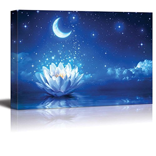 Wall26 - Canvas Prints Wall Art - Lotus Flower Floating on Water by Moonlight | Modern Wall Decor/
