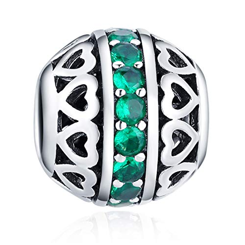May Birthstone Charms Dark Green Crystal Charm Beads 925 Sterling Silver Charms for Bracelets, Birthday Gift for Women Girls