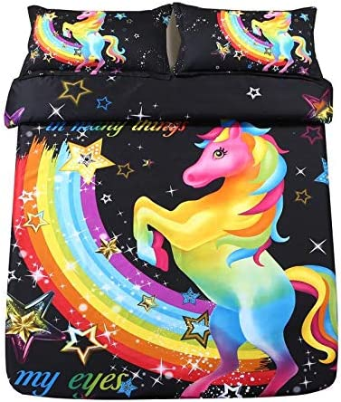 SDIII 2PC Colorful Unicorn Bedding Sets Twin Size Galaxy Duvet Cover Sets Girls/' Bed Set