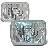 Nissan Pick Up Fog Light Components - 7X6 inches Diamond Cut Chrome Housing Clear Glass Lens Headlights/Lamps - Pair