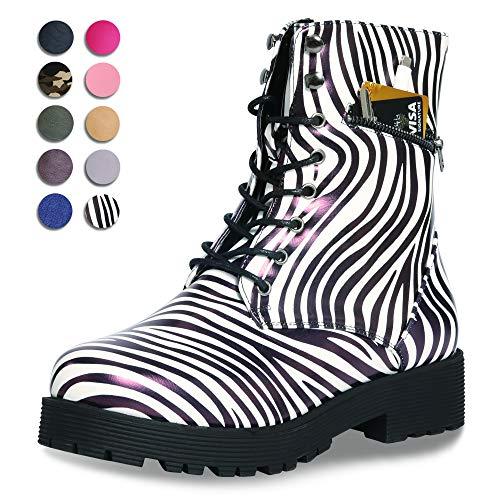 CINAK Military Combat Boots for Women- Winter Autumn Comfort Outdoor Waterproof Martin Booties Mid-Calf Shoes (7.5-8 B(M) US/ CN39 / 9.5'', ()