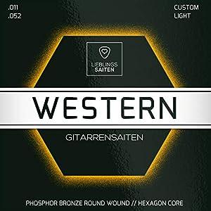 Gitarrensaiten Westerngitarre – Stahl Phosphor Bronze Saiten für Western-Gitarre & Akustikgitarre | 6 Saiten-Set