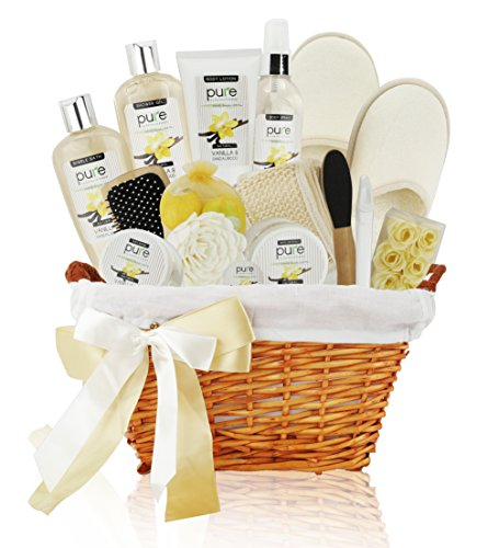 Premium Extra Large Deluxe Bath & Body Gift Basket. Sandalwood Vanilla Aromatherapy Spa Basket for Him & Her. Best Gift Baskets for Men- Boyfriend Gift, Husband Gift etc! (Vanilla Gift Basket)