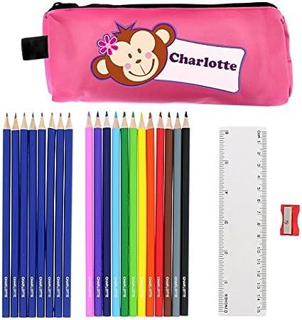 Lápices personalizados y juego de estuche de mono rosa, regalo personalizado para la escuela, estuches de lápices para niña, estuche de lápices rosa, estuche escolar para niñas, estuche para lápices de animales