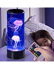 DishyKooker Jellyfish Lava Lamp 19 LED 7 Color Changing Light with Auto Shut-Off Function Jelly Fish Night Light Desk Decor Lamp for Christmas Birthday Gifts