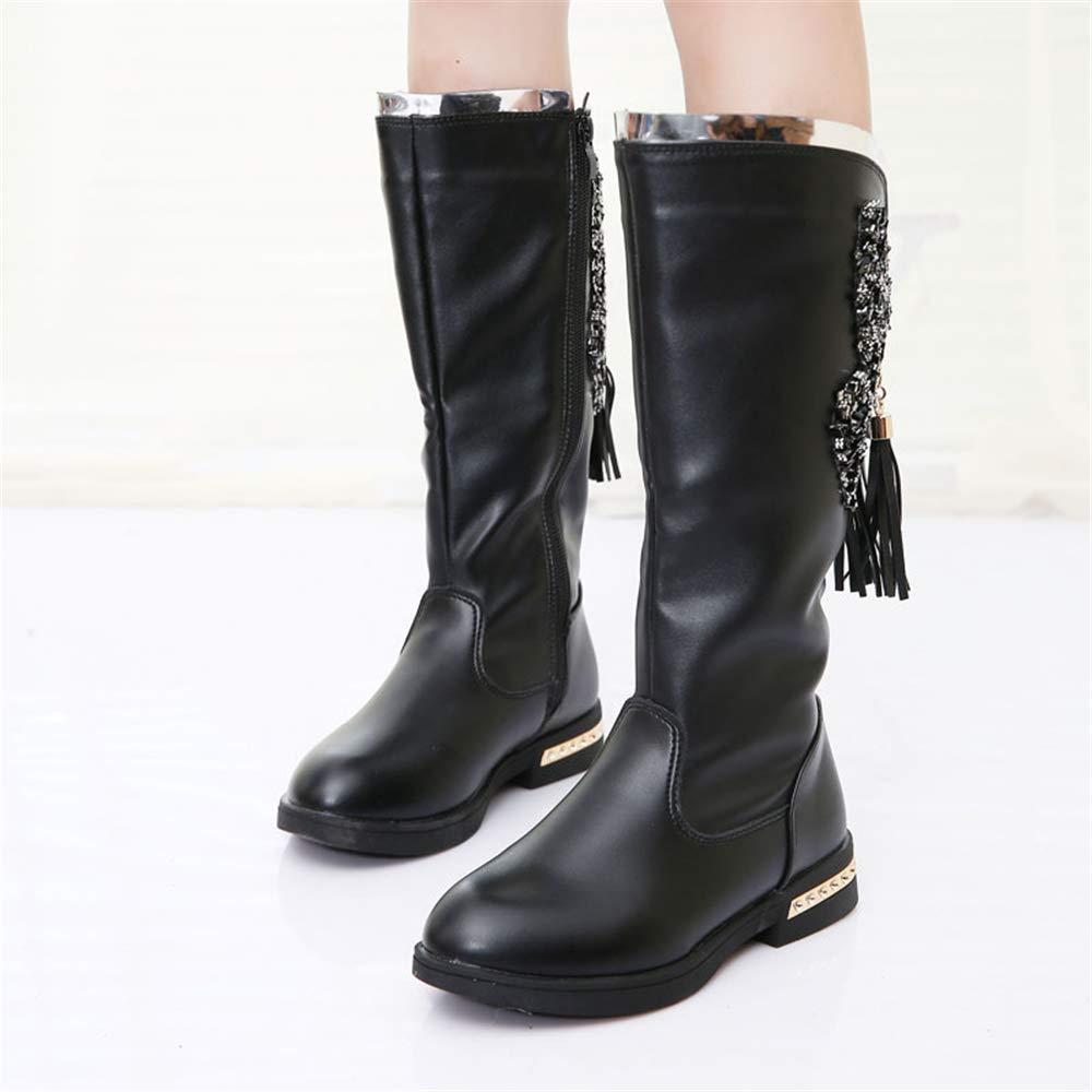 unyielding1 Girls Waterproof Bowknot Side Zipper Winter Boots Toddler//Little Kid//Big Kid Black EU 31//13 M US Little Kid