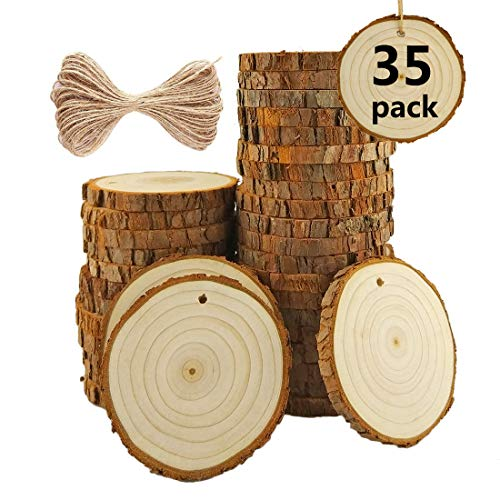 Natural Wood Slices with Holes 3.1-3.5 Thickness of 1cm Craft Wood Kit Unfinished Predrilled with Hole Wooden Circles Great for Arts Christmas Wedding Ornaments DIY Crafts Decorations