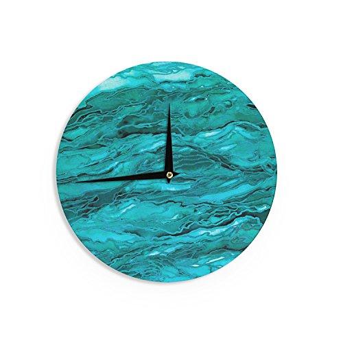 Kess InHouse EBI Emporium Marble Idea!-Light Teal Aqua Aqua Blue Wall Clock, 12