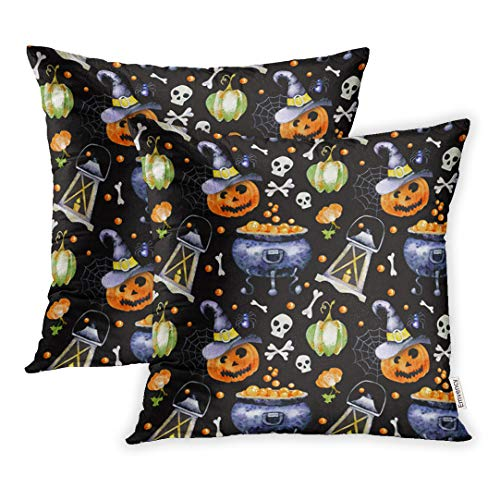 Emvency Throw Pillow Cover Set of 2 Polyester 16x16 Inch Decorative Watercolor Images of Halloween Attributes Cobweb Hat Witch and Pumpkins Deco Cushion Pillowcase Sofa Home for $<!--$15.90-->