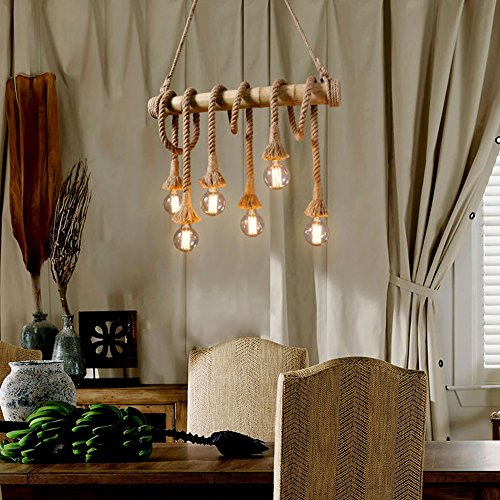 Ting W Industrial Hemp Rope Bamboo Edison Led Antique